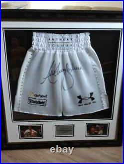 Anthony Joshua Signed & Framed Limited Edition Boxing Trunks AFTAL COA