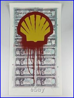 Beejoir Shell Blood For Oil Street Art Graffiti signed limited edition withCOA