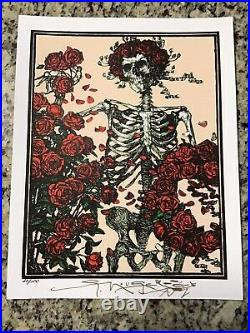 Blotter Art Peach Skeleton & Roses Signed By Stanley Mouse Limited With Coa