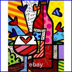 Britto Food & Wine Hand Signed Limited Edition Giclee on Canvas COA