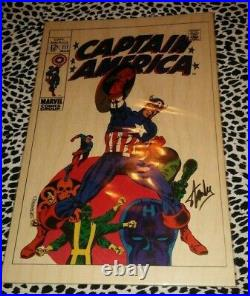 Captain America 111 Wooden Print 57/300 Limited Ed Signed By Stan Lee Mint Coa
