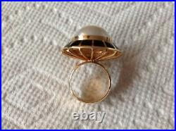 Erte Black Onyx & Mabe Pearl Soleil Noir Domed Ring Limited Edition 42/75 COA