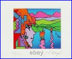 Exciting Peter Max Hand SIGNED withCOA Geometric Profile & Sailboats Limited Ed