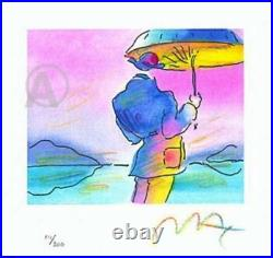 Exciting Peter Max Hand Signed Umbrella Man Limited Edition Lithograph with COA