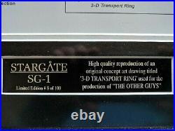Framed Limited (8 of 100) Stargate SG-1 Transport Rings Concept Drawing Art COA
