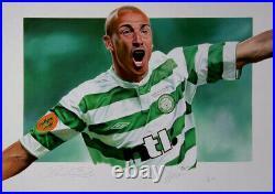 Henrik Larsson Celtic Signed Limited Edition Artwork Football Photo Coa Proof