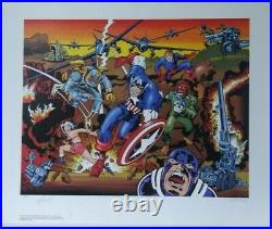 Marvel Captain America 50th Limited 1990 Hand Signed Ap Jack Kirby Stan Lee Coa