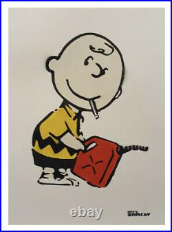 Mrs Banksy Charlie Brown Limited Edition Spray Print. With COA. With Crate