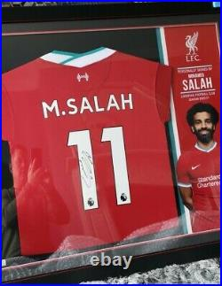 Official LFC Mo Salah Limited Edition Framed Signed Shirt with COA