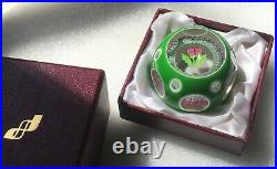 Perthshire 1988 Limit Edition Thistle Flower Double Overlay Paperweight +Box COA