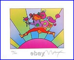 Peter Max Jumper Over Sunrise II Hand Signed Limited Edition Lithograph With COA