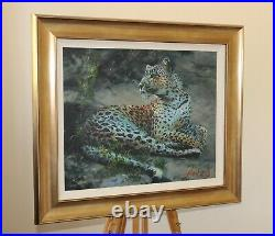 ROLF HARRIS Large Limited Edition Canvas Print on Board Reclining Leopard + COA