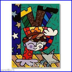 ROMERO BRITTO UPSIDE DOWN TOO NEW LIMITED EDITION SERIGRAPH ON PANELWithCOA
