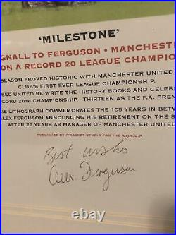 Sir Alex Ferguson Signed Limited edition Manchester United Lithograph COA Framed