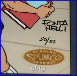 Spumco Mike Fontanelli Limited Edition Cel Bad Catholic Girls Signed COA 50/50