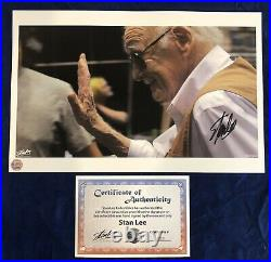 Stan Lee Waving Photo Litho Signed by Stan Lee with COA! Very Limited! MARVEL